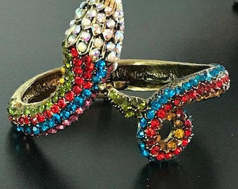 Over-the-Top Glittering Snake Wrist Cuff