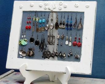 Shabby Chic EARRING HOLDER DISPLAY Rack / Cream / 25 - 35 Earrings, jewelry display, jewelry organizer