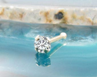 14K Solid White Gold or Yellow Gold Nose Bone, Nose Ring Clear CZ, Standard, 1.5mm, 2mm, 2.5mm, 3mm, 3.5mm CZ. Short, or Long Post length