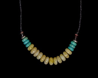 Yellow and Turquoise Beaded Color Block Necklace