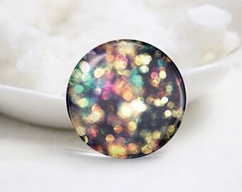 Handmade Round Neon Photo Glass Cabochons (P3732)