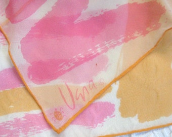 orange and pink scarf . silk crepe scarf .  Vera scarf . Vera neuman . vera silk scarf