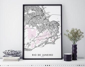 Rio de Janeiro, Copacabana, Brazil Art, City Map Print Wall Art | A4 A3 A2