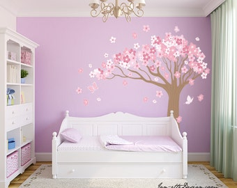 Tree Wall Decal,Large Cherry Blossom Tree Wall Sticker,Girl Wall Decal,Nursery Wall Decor,FREE US SHIPPING
