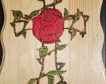 Cross and rose plaque