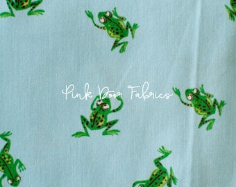 Kinder - Frogs in Pale Blue - Heather Ross for Windham Fabrics - 43484-9  - 1/2 yard