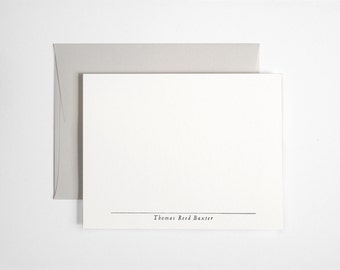 Custom Letterpress Note Cards - Personalized Stationery Set - Pale Gray Aldine