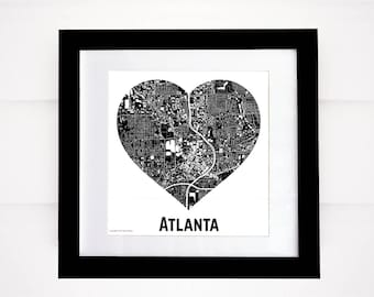 Atlanta Heart Map, More Cities Available! Atlanta Buildings, Downtown Atlanta Map