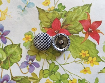 Wholesale Earrings / Fabric Covered Button Earrings / Black and White Plaid / Great for Sensitive Ears / Handmade Jewelry / Small Gifts