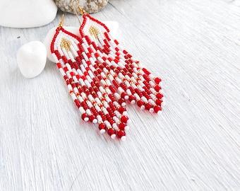 Seed Bead Earrings long earrings Red earrings Beadwoven earrings Dangle earrings Lightweight earrings  Beaded earrings fringe earrings trend