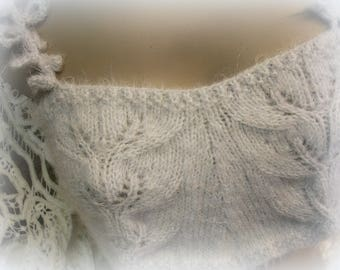 Sixteen Vestal Virgins festival bra coachella couture knitted by hand washable soft raggy light gray crocheted straps SMALL