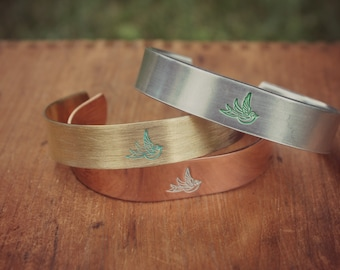 """Hand Crafted Hammered Bird Design Hand Painted 1/2"""" Cuff Bracelet, Layering Bracelet, Stacking Bangle, Stackable Cuff, Summer Jewelry"""