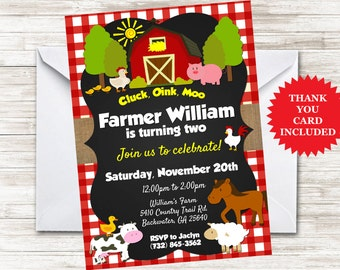 Farm Invite Birthday Invitation Kids Party Farmer Barnyard 5x7 Digital Personalized