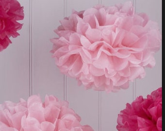 Wholesale Lot of FOUR Tissue Paper Flower Pom Poms PINK and Hot Pink