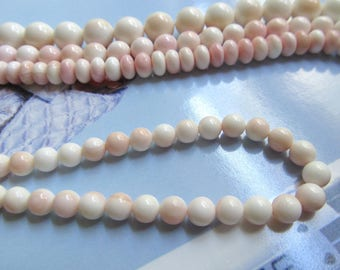 White and Pink AA Shell Beads, White Mother of Pearl, Blush Pink Shell Bead, Queen Conch Shell, Pink MOP Beach Bead, 6mm 15 Pcs