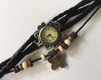 Handmade Leather with Beads and Butterfly Charm Bracelet Watch for Women Teens and Girls