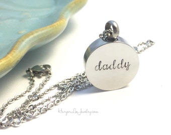 Cremation - Urn - hand stamped daddy necklace - Remembrance Jewelry - Memorial Necklace - Sympathy Gift - Loss of a loved one