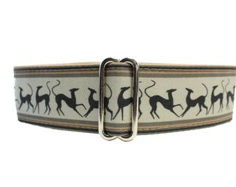 Prancing Greyhounds Martingale Collar, Martingale Collar Greyhound, Galgo Collar, Saluki Collar, Brown Martingale Collar for Boys, Levrier