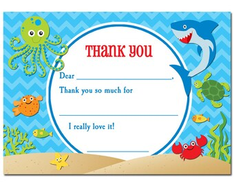 Under The Sea Thank You Note Printable - - Instant Download -  Sea and Friends Collection