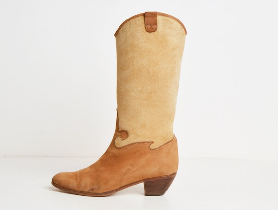 2804282567488 Shearling Leather 70s Sheepskin BOOTS Vintage 1970s Lined Brown ...