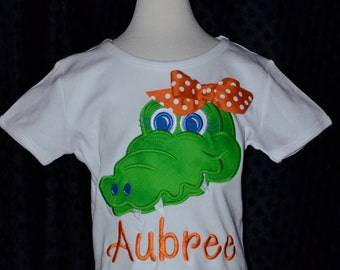 Personalized Football Gator Applique Shirt or Bodysuit