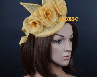 Champagne gold sinamay fascinator Roses fascinator formal hat for Royal Ascot wedding kentucky derby tea garden party.