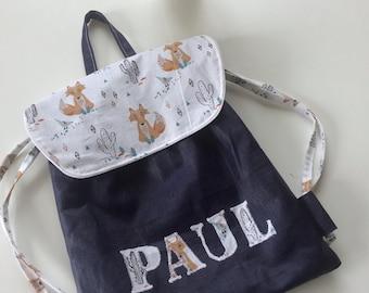 Sac à dos enfant,sac crèche, sac maternelle en lin enduit imperméable marine