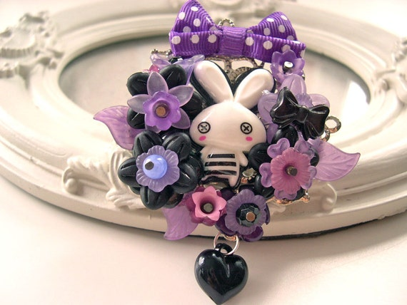 Hair Clip kawaii fairy kei lolita accessory white bunny rabbit kanzashi purple