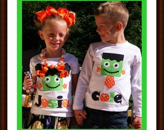 Personalized Halloween Shirt for Children, Halloween Frankenstein Shirt for Children, Boys Halloween Shirt, Girls Halloween Shirt