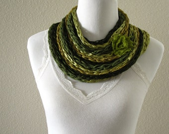 Finger Knit Necklace, Finger Knit Infinity Scarf, Summer Accessories, Green Infinity Scarf, Boho Scarf, Boho Necklace