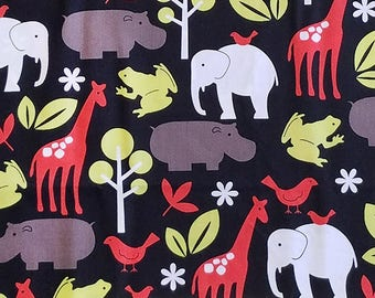 Zoology Black, Michael Miller, 100% Cotton Quilting Fabric Apparel, Fabric by the Yard