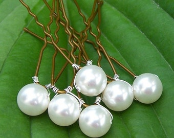 6 Bridal Hair Pins with Swarovski Pearls 8mm