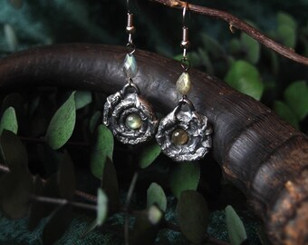 Forest Faun Earrings Silver and Labradorite 2 inches