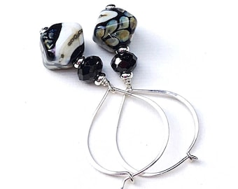 Black Spinel Sterling Silver Geometric Lampwork Dangle Earrings   Minimalist for Her Under 100, One of a Kind, US Free Shipping