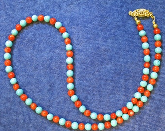Elegant Simplicity Red Coral and Blue Turquoise Colored Stone Beaded Necklace Choker