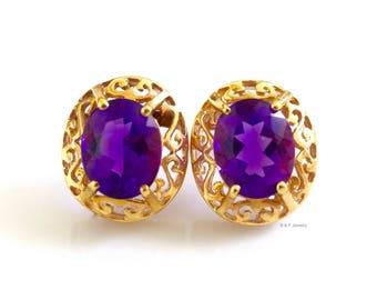 14K Gold 4.98 Carat Oval Amethyst Earrings