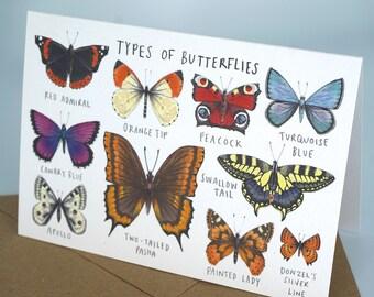 Types of Butterflies Greetings Card
