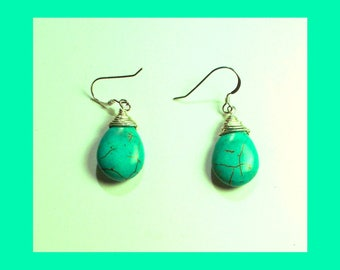 TURQUOISE DROP EARRINGS - Handcrafted Sterling Silver Wire Wrapped Dangle Earrings – Made In Maine