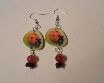 Pendant earrings, ladybirds