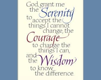 "Serenity Prayer, 8x10"" Serenity Prayer print, aa quote, Serenity Prayer wall art, inspirational calligraphy print"