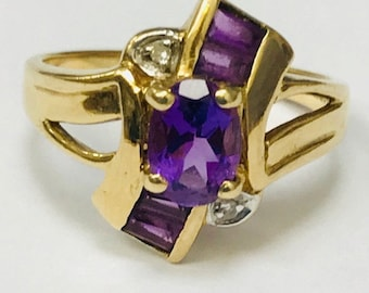 9ct Gold Amethyst Knot Ring
