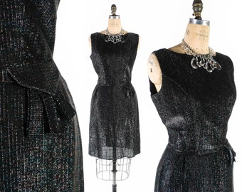 "SALE - Vintage 50s Dress // 1950s Dress // Lurex Dress // Sparkly Metallic Cocktail Party Dress - sz L - 30"" Waist"