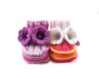 Hand Knitted Baby Booties with Crochet Bell Flowers - Pink, Yellow and White,  3 - 6 months