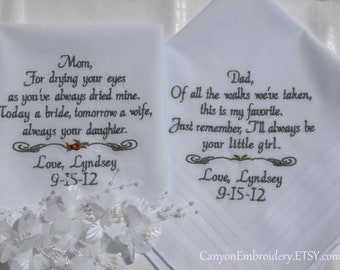 Embroidered Personalized Mom & Dad Wedding Hankerchiefs By Canyon Embroidery