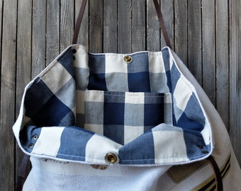 Large Linen tote bag, eco recycled fabric