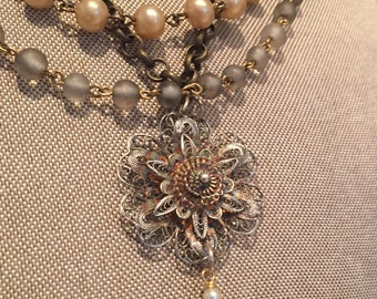 Multi Chain History, Assemblage Necklace, Upcycled, Repurposed Jewelry, Steampunk, Boho