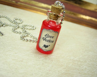 Love Potion 2ml Glass Bottle Necklace Charm - Vial Pendant - Valentine's Day Cupid Love
