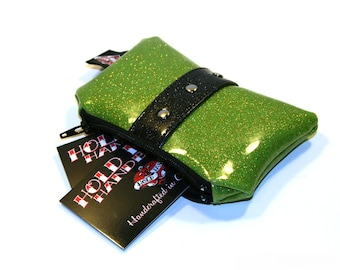 Lime Green Coin Pouch with Your Choice of Trim, Vinyl, Rockabilly, Coin Purse, Metal Flake Purse - MADE TO ORDER