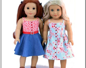 Pixie Faire Forever 18 Inches Button Front Sundress Doll Clothes Pattern for 18 inch American Girl Dolls - PDF