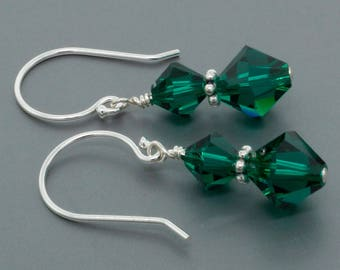 Swarovski Crystal Drop Earrings • Sterling Silver Green Crystal Earrings Gift for Her • Crystal Jewelry Gift for Women